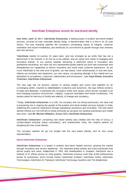 InterGlobe Enterprises unveils its new brand identity
