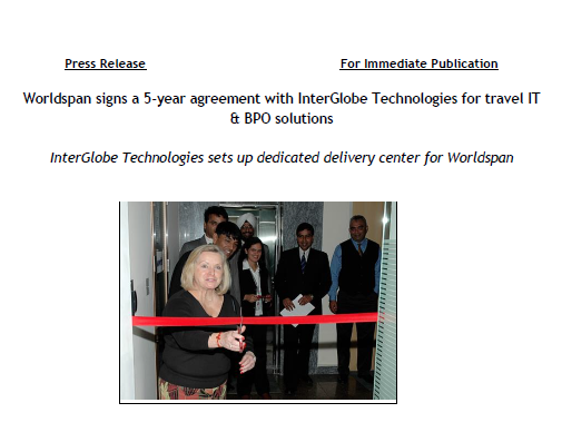 Worldspan signs a 5-year agreement with InterGlobe Technologies for travel IT & BPO solutions